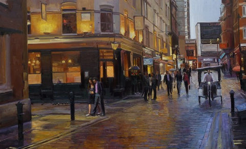 "After the Rain , Soho, Oil on canvas, 48"" x 30"""