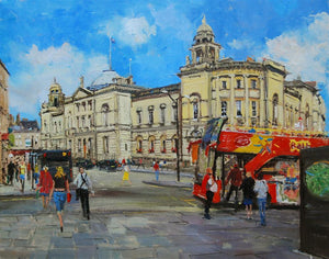 "Afternoon Light, The Guildhall, Bath, Oil on board, 20"" x 16"""