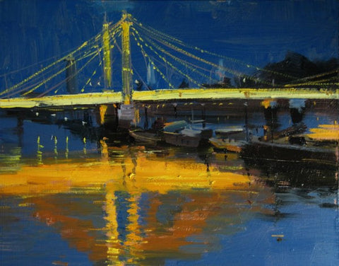 "Albert Bridge Fiery Reflections, Oil on board, 10"" x 8"""