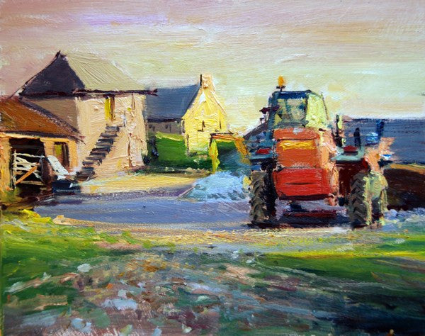"Cornwall Series III (Evening Light, Cornish Farmyard), Oil on board, 10"" x 8"""