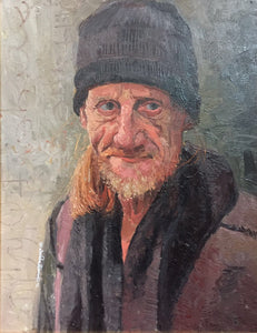 "The Face of Homelessness, Sloane Square, Oil on board, 16"" x 20"""