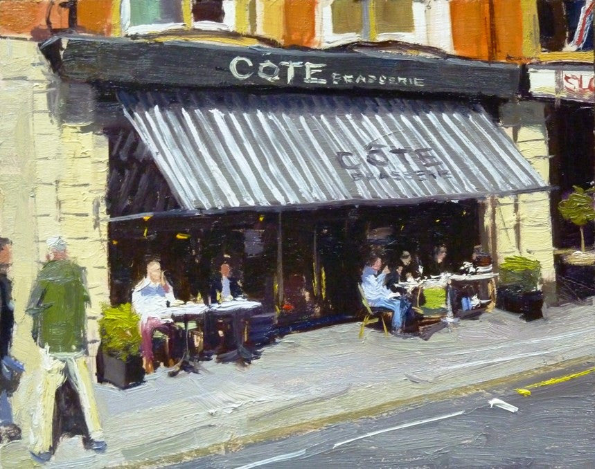 "Lunch Time at The COTE Brasserie, Sloane Square, Oil On Board, 10"" x 8"""