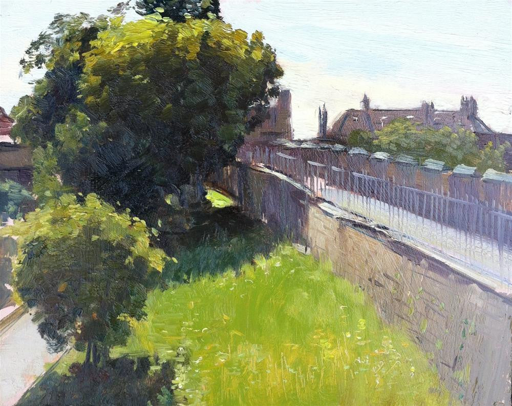 "Morning Light on The York City Walls, Oil on board, 10"" x 8"""