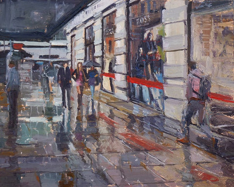 "Rain and Reflections, Sloane Square, 10"" X 8"", Oil on Board"