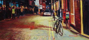 "Rupert Street, Soho, Oil on board, 18"" x 9"""