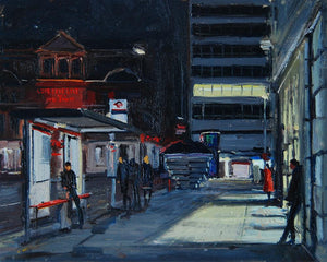 "Sloane Square, Towards the Station at night, Oil on board, 10"" x 8"""