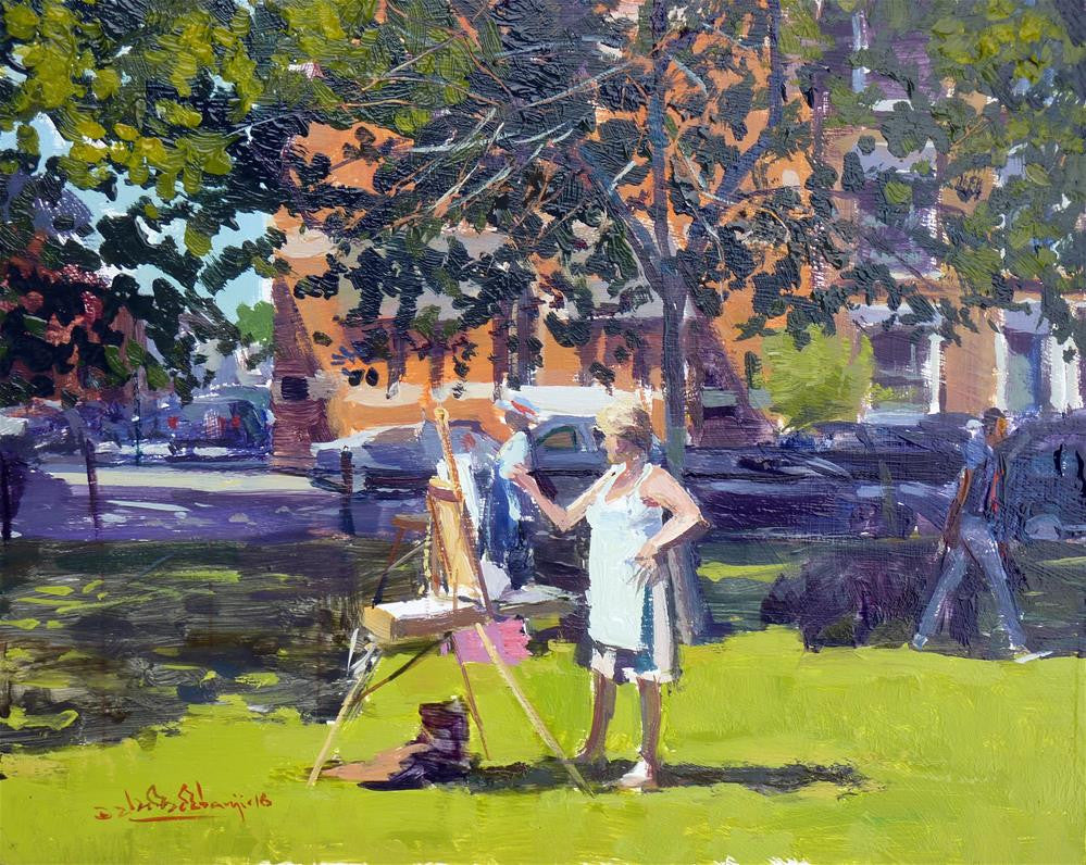 "Society of Fulham Artists and Potters Painting Day Out, Oil On Board, 10"" x 8"""