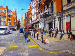 "Springlight Royal Court Theatre, Sloane Square, Oil on Board, 16"" x 12"""