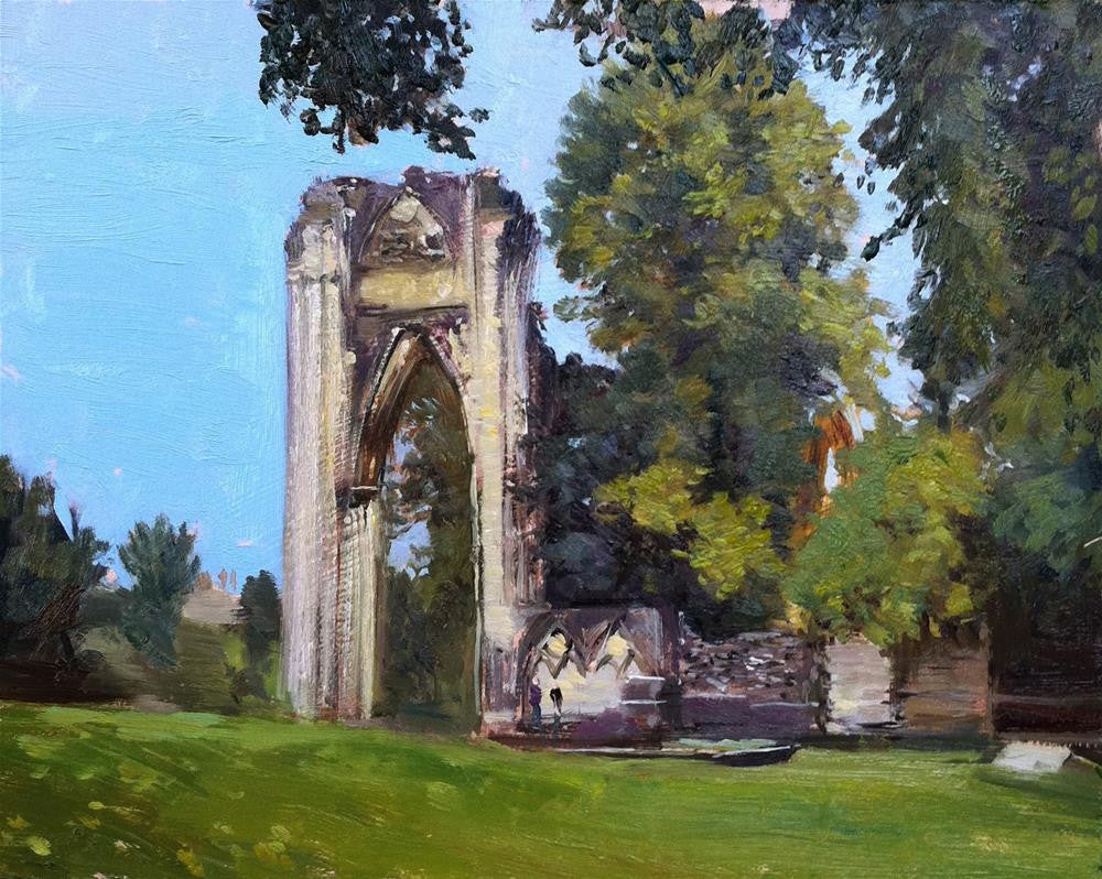 "St Mary's Ruins, York, Oil on Board, 10"" x 8"""