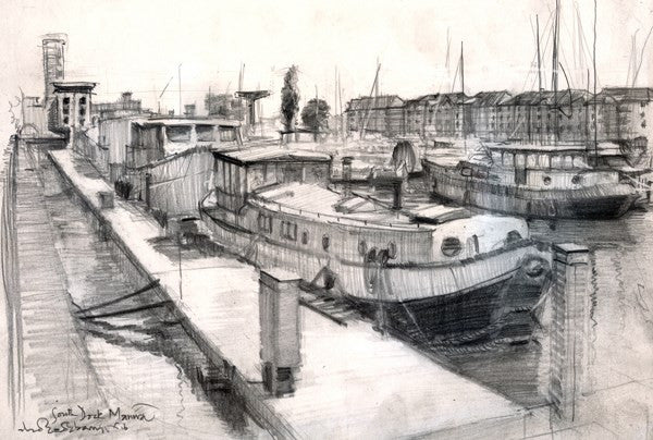 "South Marina Docks, Graphite on Paper, 11"" x 8"""