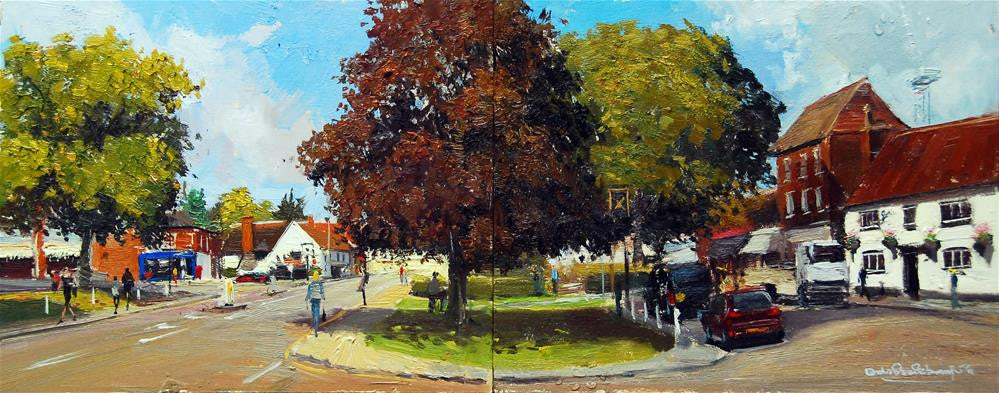 "Summerlight, The Old Cock Inn and Cross Keys, Oil on board, 20"" x 8"""