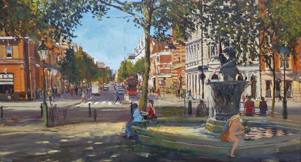 "Summer Shadows, Sloane Square, Oil on Canvas, 36"" x 20"""