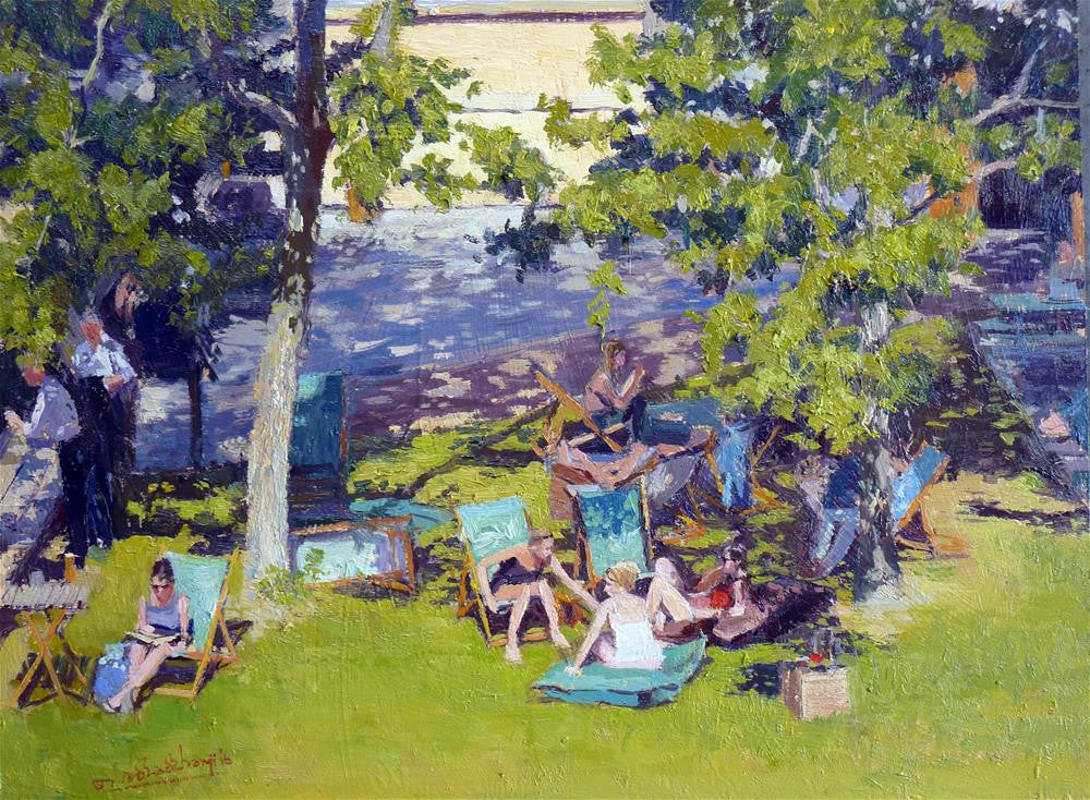 "Summer Shadows, South Bank, Oil On Board, 16"" x 12"""