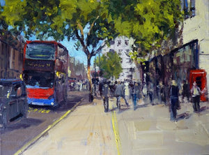 "Summerlight, Charing Cross Road, Oil on Canvas, 16"" x 12"""