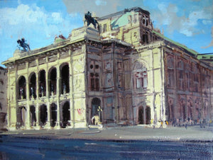 "Summerlight, Opera House, Vienna, Oil on board, 12"" x 9"""