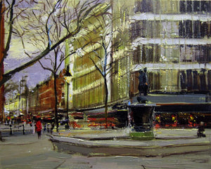 "That Christmas Feeling, Sloane Square, Oil on Board, 10"" x 8"""