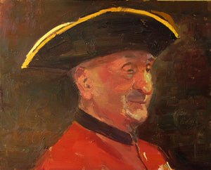 "The 103 year old Chelsea Pensioner, Oil Board, 10"" x 8"""
