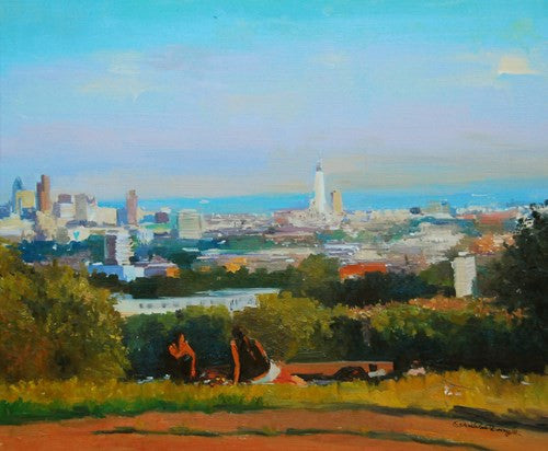 "The London Skyline from Parliament Hill, Oil on board, 24"" x 20"""