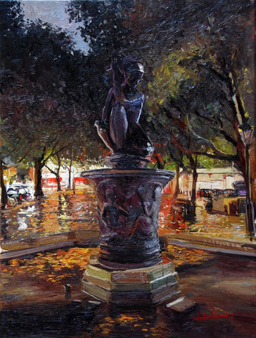 "The Nocturne, Sloane Square, Oil on canvas, 12"" x 16"""