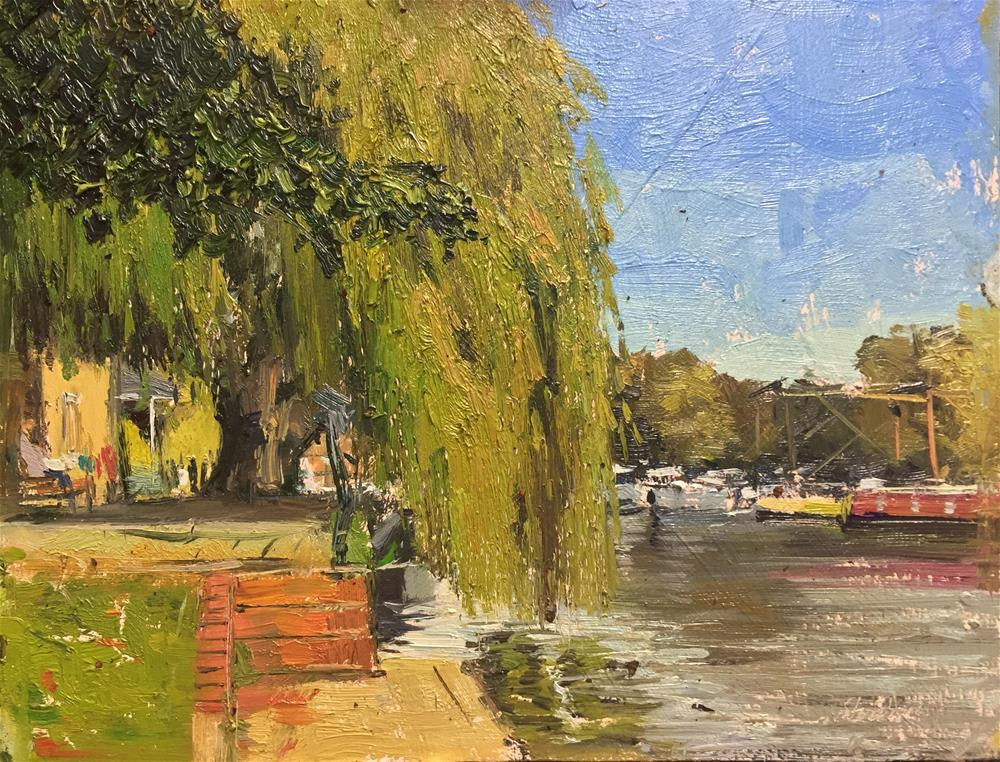 "Weeping Willows, Ely, Oil on Board, 10"" x 8"""