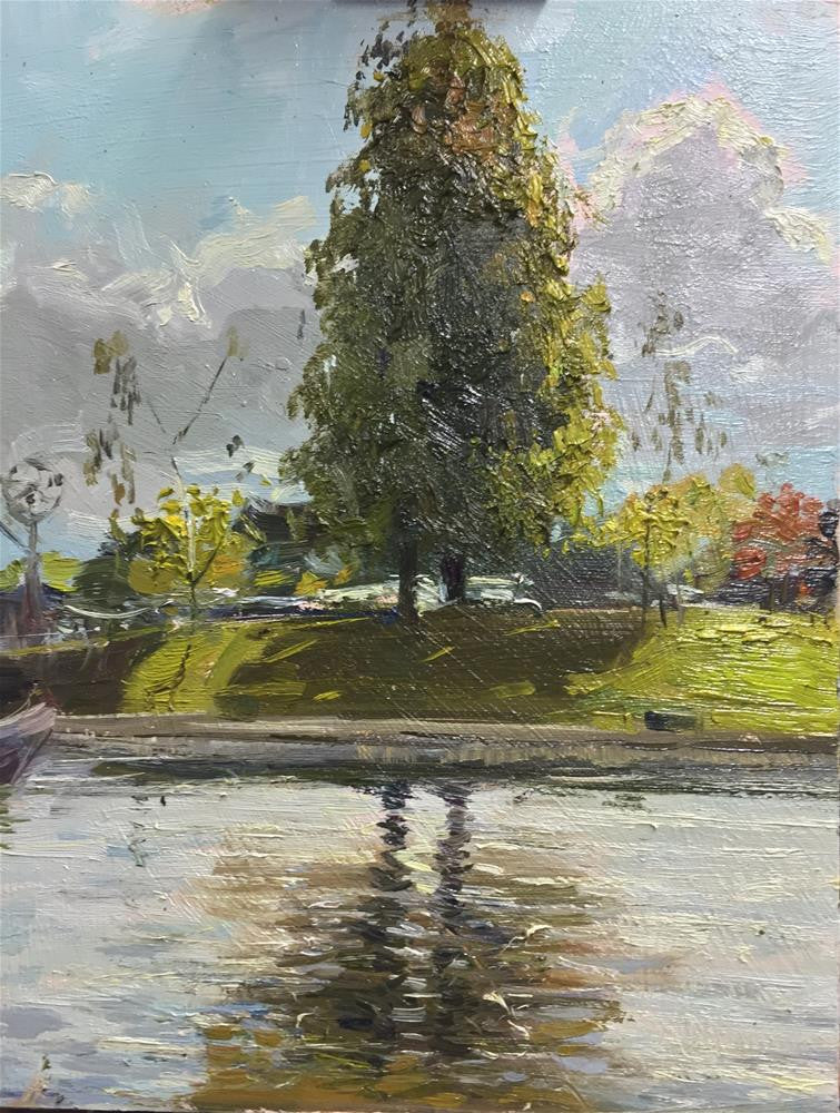 "Twin Tree Reflections, Ely, Oil on Board, 8"" x 10"""