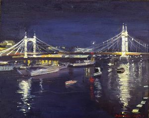 "Albert Bridge Nocturne, Oil on Board, 10"" x 8"""