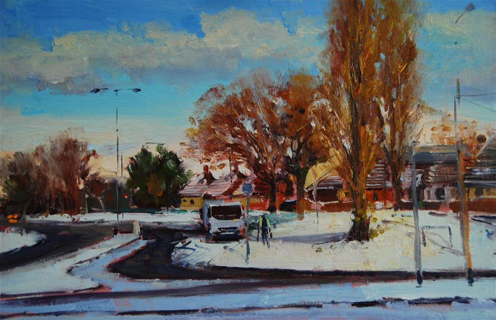 "Urban snow effects, Oil on board, Oil on board,  18"" x 12"""