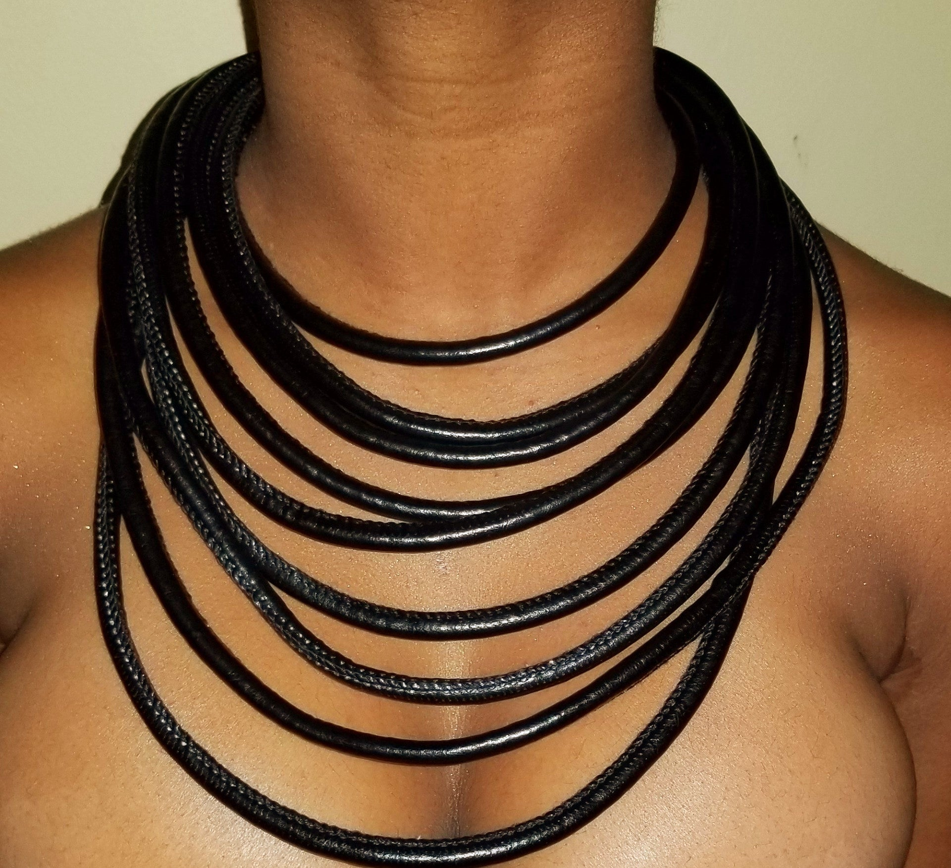 Leather Layered Strand Necklace