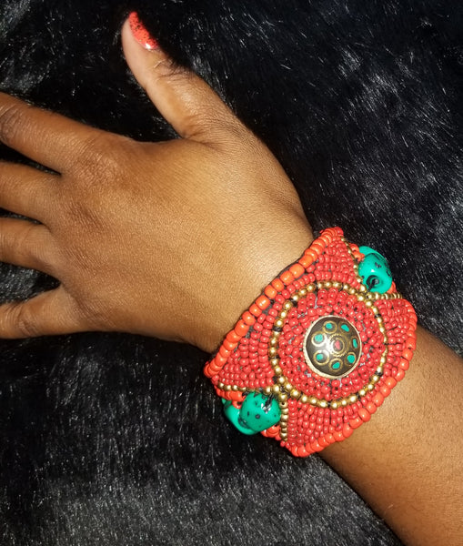 Beaded Indian Bracelet (Red)