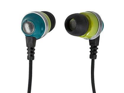 Monoprice Enhanced Bass Noise Isolating Earbuds Headphones w/ Built-in Microphone and Play/Pause Control - Green