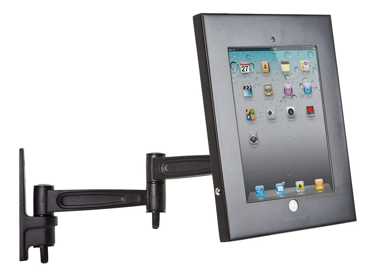 Tablet Wall-Articulating Mount & Enclosure w/ Anti-Theft Function Apple iPad Holder, Locking for Public Desk or Kiosk Displays Case Holder iPad 2, 3, 4, & Air 9.7 Inches Screen Size by Monoprice