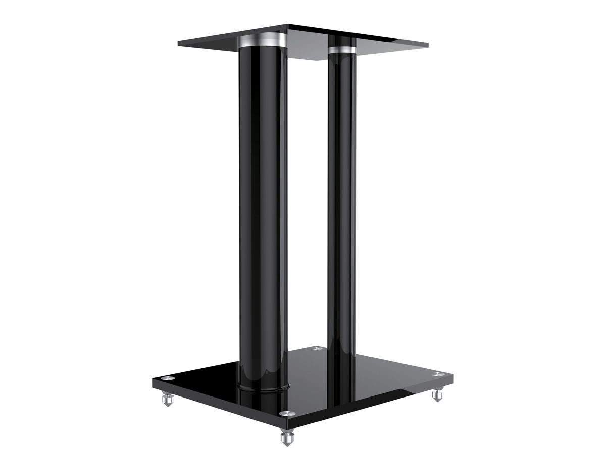 Glass Floor Speaker Stands (Pair) - Black, Support Up to 10 kg (22 lbs) Weight, Constructed of Tempered Glass With Aluminum Vertical Supports by Monoprice