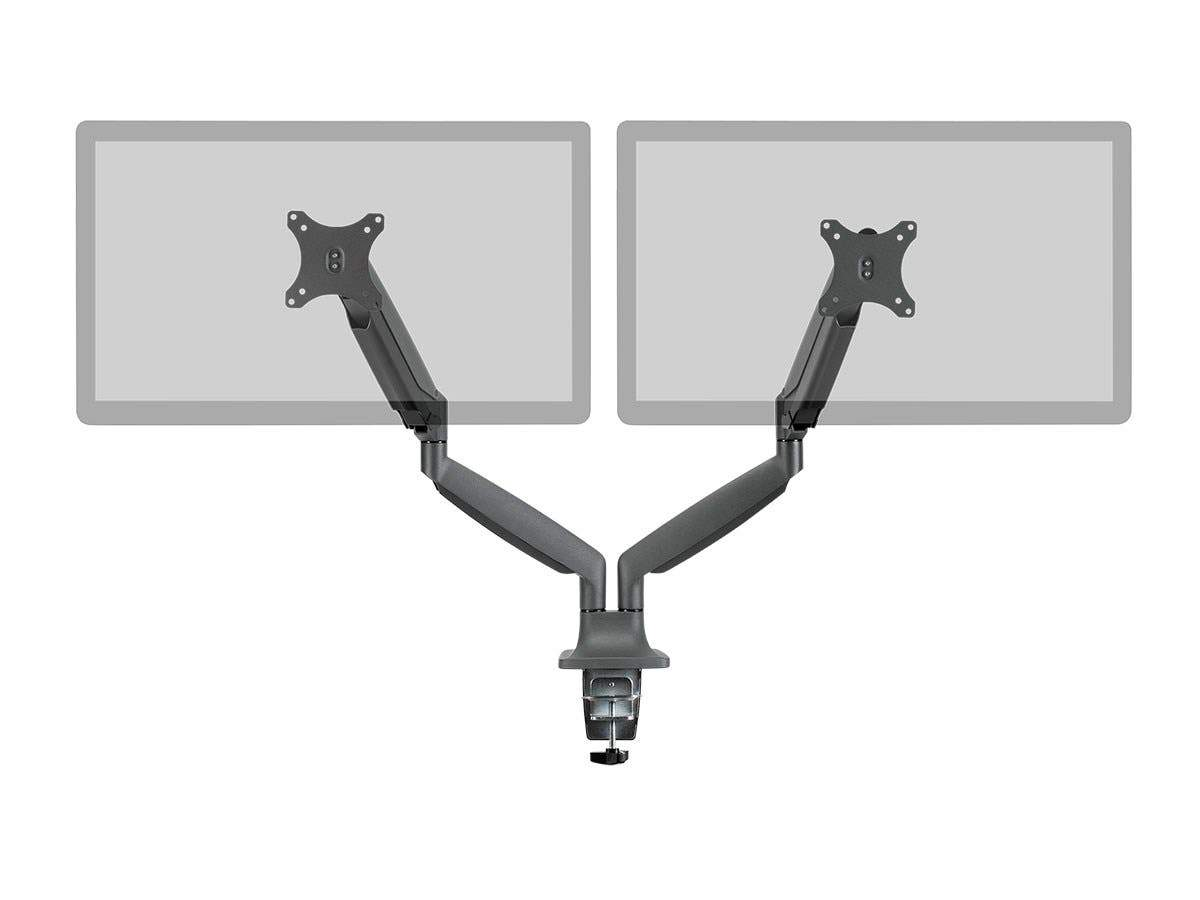 Smooth Full Motion Dual Monitor Adjustable Gas Spring Desk Mount - Black For Large Screens, Supports Up To 86 cm Monitors, With 8.9 kg (19 lbs) Max Weight Per Display, Easy Set up - Workstream Collection by Monoprice
