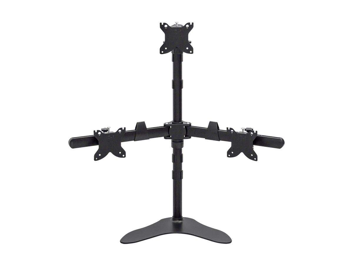 Triple Monitor Pyramid Free Standing Desk Mount for 15-30in Monitors