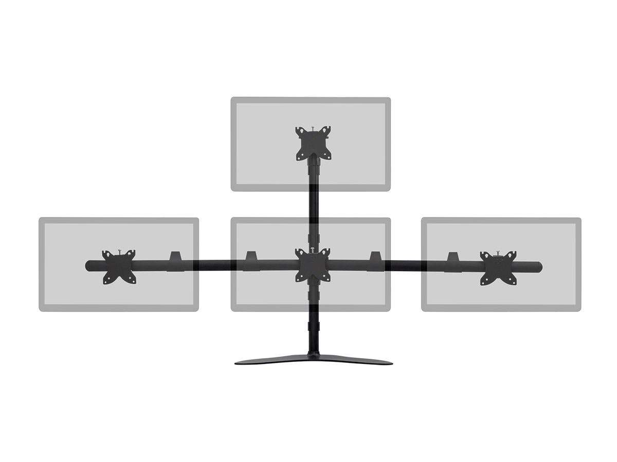 Quad Monitor Pyramid Free Standing Desk Mount For Monitors Up to 76.2cm, Rotate 360°, Swivel ±60°, Tilt ±12° by Monoprice