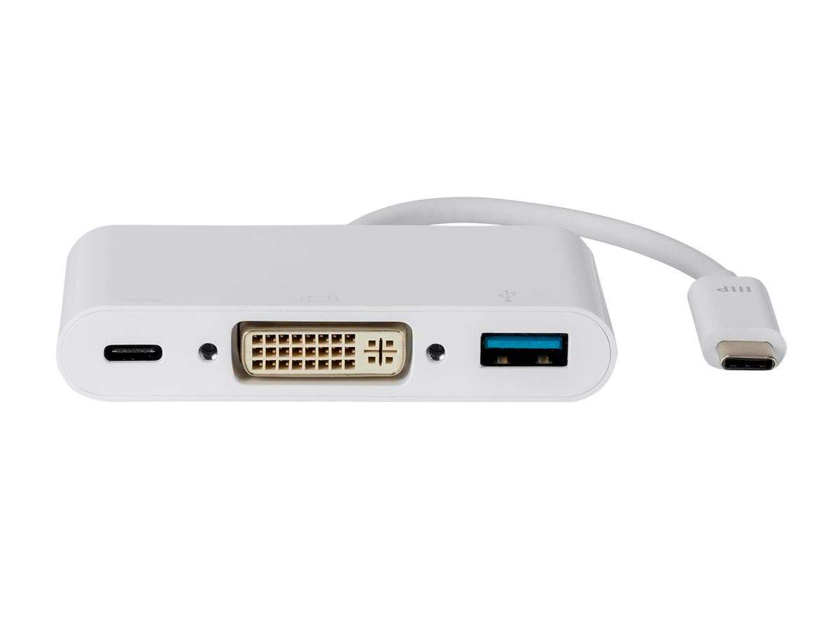 USB-C DVI Multiport Adapter - White, With USB 3.0 Connectivity & Mirror Display Resolutions Up To 1080p @ 60hz - Select Series by Monoprice