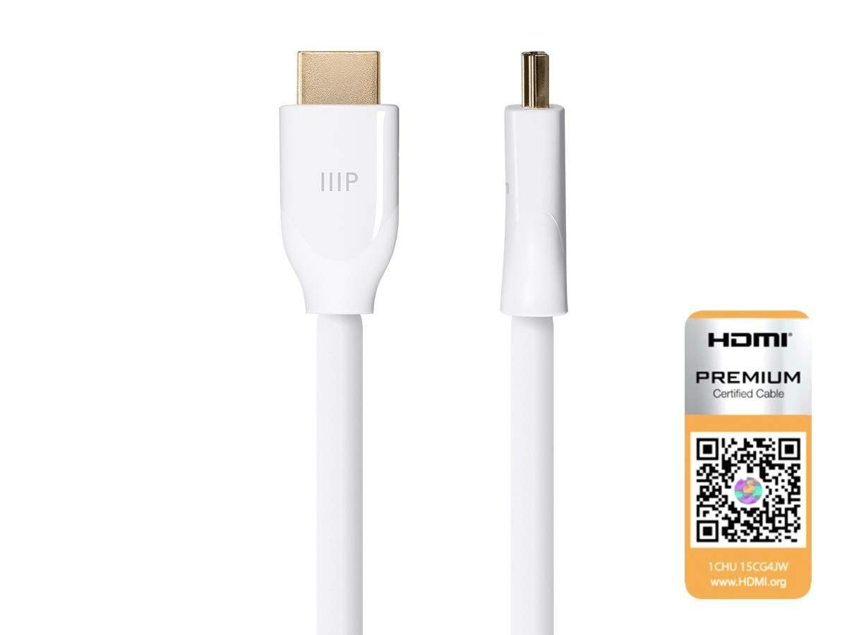 Certified Premium High Speed HDMI Cable, 4K@60Hz, HDR, 18Gbps, 24-28AWG, YUV 4:4:4 by Monoprice