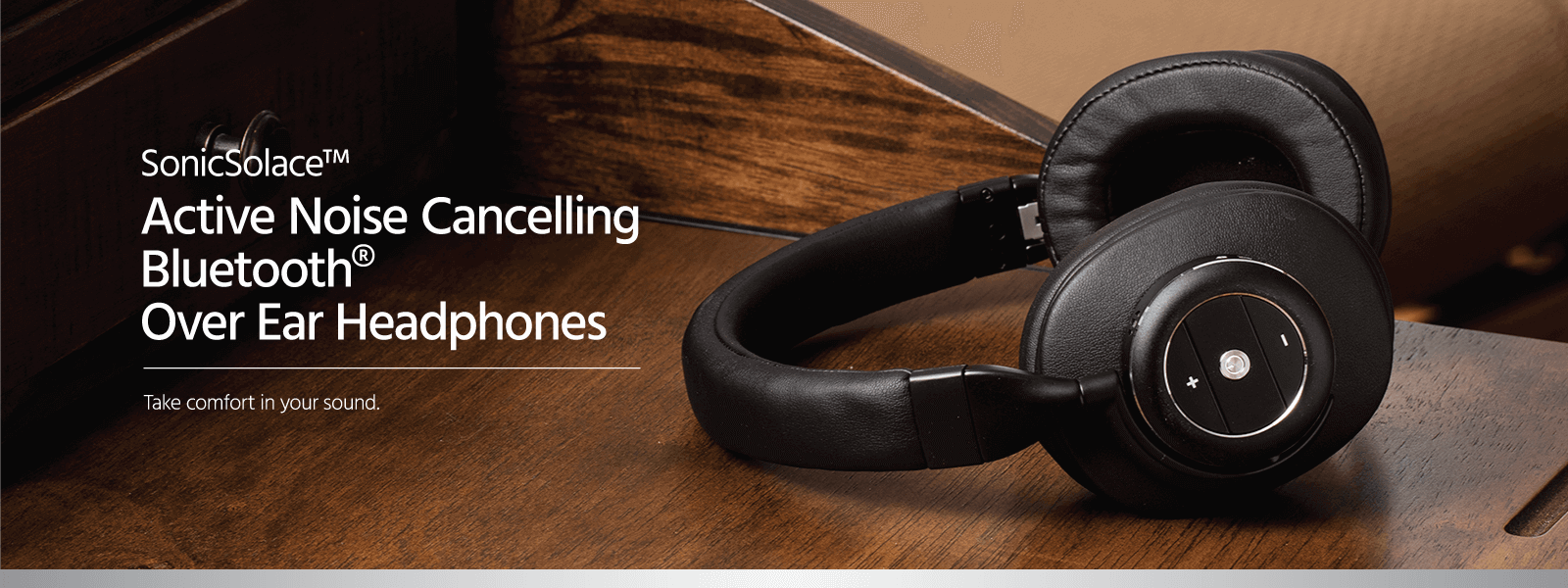Monoprice SonicSolace Active Noise Cancelling Bluetooth w/aptX Wireless Over the Ear Headphones, Black (New in Bulk Packaging/No Retail Box)