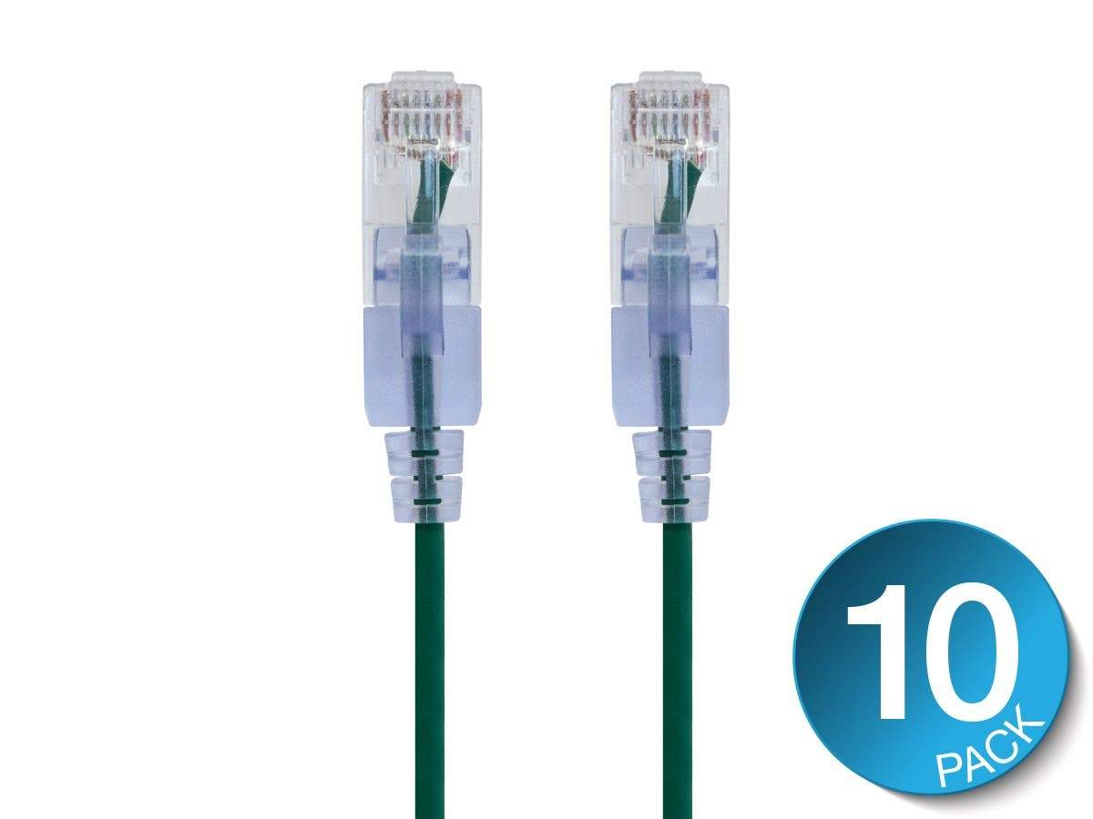 SlimRun Cat6A Ethernet Patch Cable - Snagless RJ45, UTP, Pure Bare Copper Wire, 10G, 30AWG, 10-Pack by Monoprice