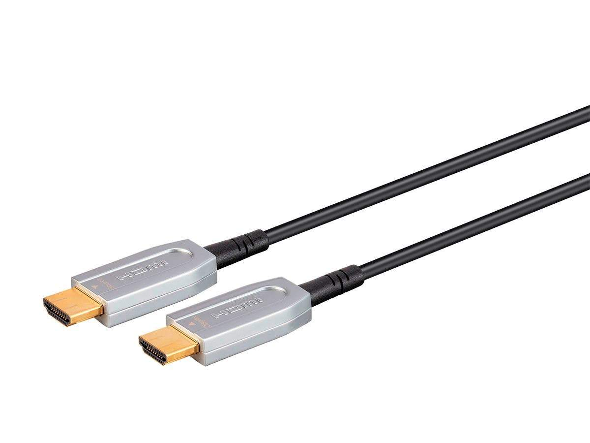 SlimRun AV HDR High Speed Cable for HDMI-Enabled Devices - 4K@60Hz, HDR, 18Gbps, Fiber Optic, ARC, AOC, YCbCr 4:4:4, Black by Monoprice