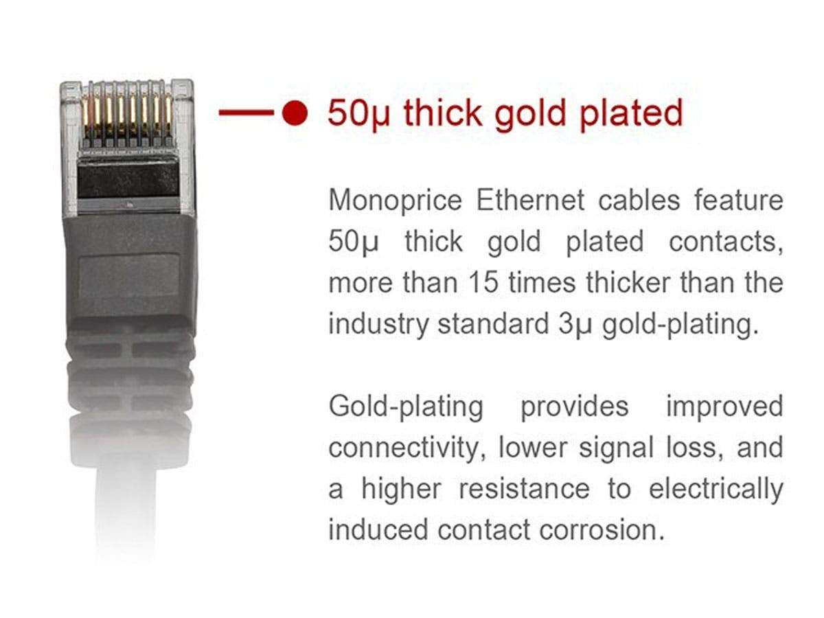 Cat5e Ethernet Patch Cable - Snagless RJ45  Stranded  350Mhz  UTP  Pure Bare Copper Wire  24AWG by Monoprice