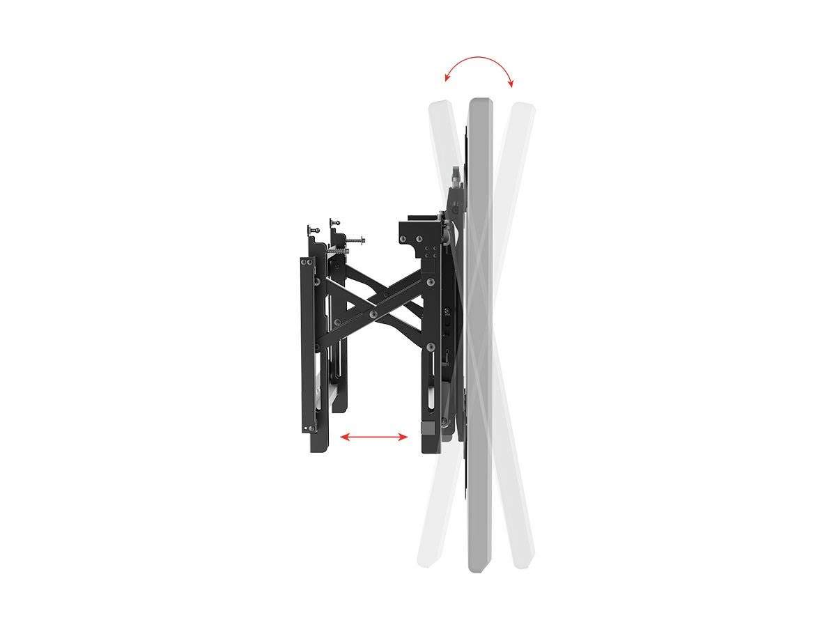 Monoprice Commercial Series Portrait Push-to-Pop-Out Video Wall System Bracket for TVs 45in to 70in, Max Weight 70 kg (154 lbs), Rotating, Tilting with VESA up to 600x400