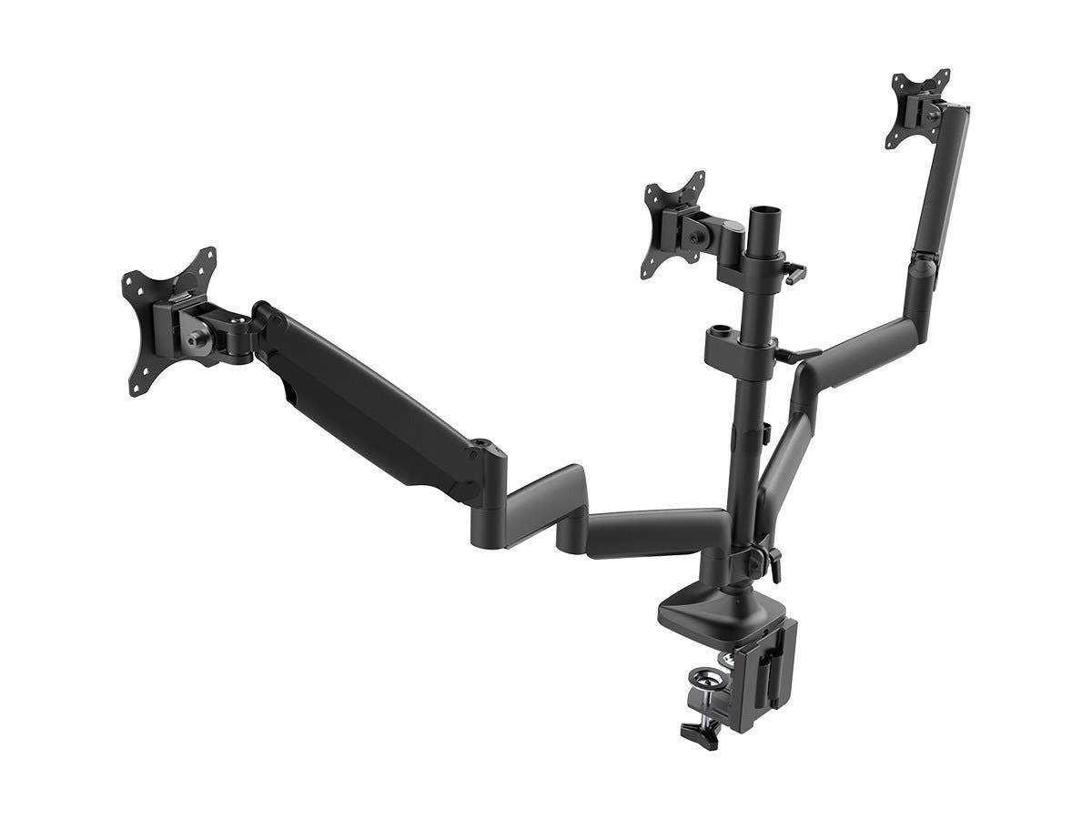 "Workstream Triple Monitor Gas Spring Mount for up to 32"" Screens  Locking Center Mount  by Monoprice"