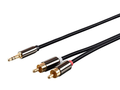 Monoprice 3.5mm Stereo Male to RCA Male Auxiliary Cable - 1.8 Meters (6Ft) Gold Plated For Headphones, iPods, iPhones, iPads, Home & Car Stereos - Onyx Series Main Image