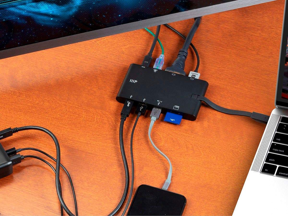 USB-C to HDMI 4K@30Hz / VGA / 2-Port USB 3.0 / Gigabit RJ45 / SD Card/USB-C Data Dock Adapter with Folding Type-C Connector - Mobile Series by Monoprice