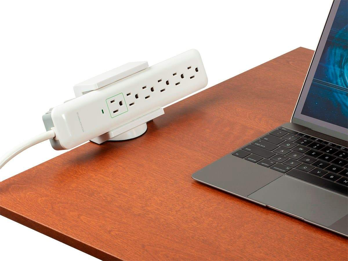 Desk Clamp Holder - White For Surge Protectors, Power Strips, USB Hubs  - Workstream Collection by Monoprice