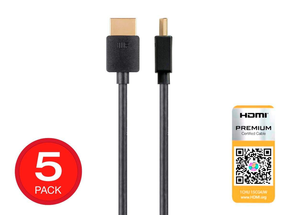 High Speed HDMI Cable | Certified Premium | 4K@60Hz | HDR | 18Gbps | 36AWG | YUV 4:4:4 | Black | Ultra Slim Series