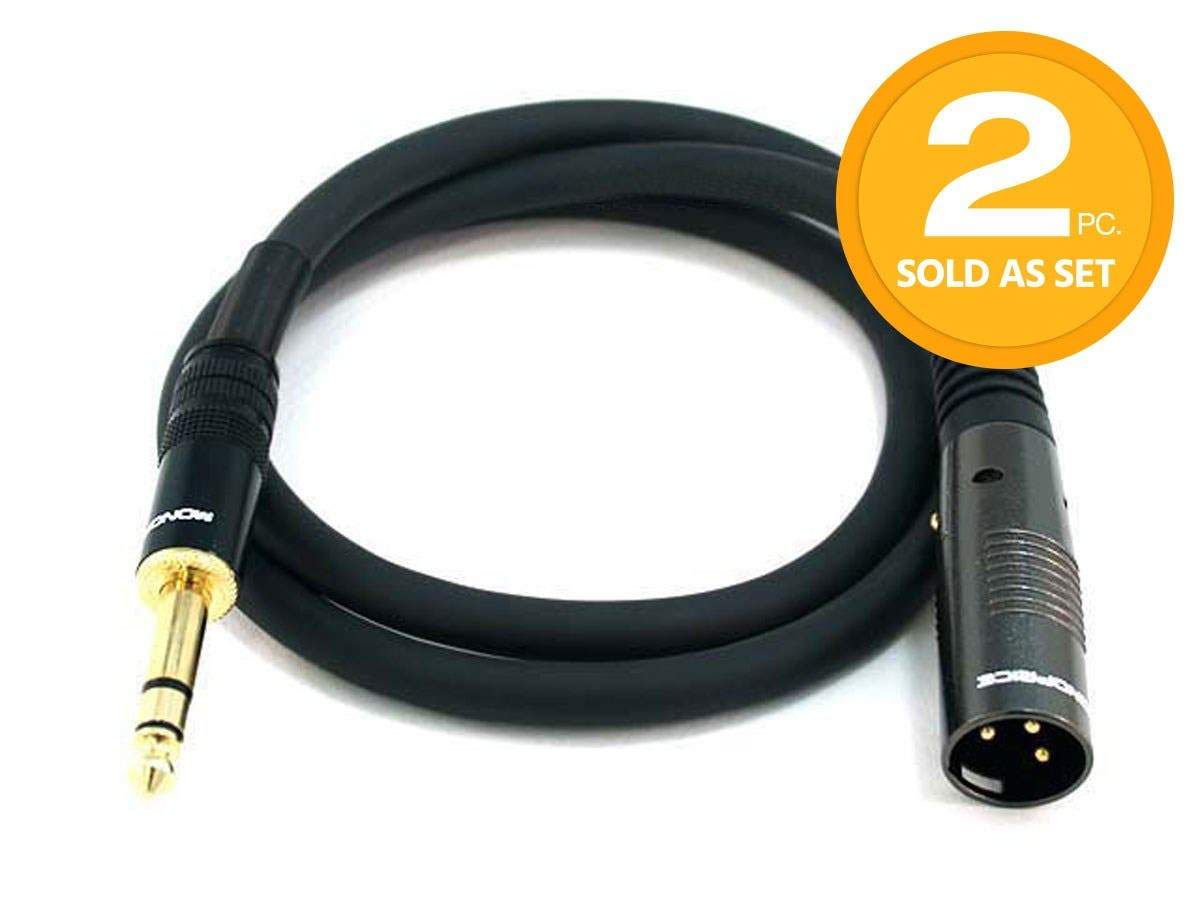 3ft Premier Series XLR Male to 1/4inch TRS Male 16AWG Cable (Gold Plated)  2 Pack