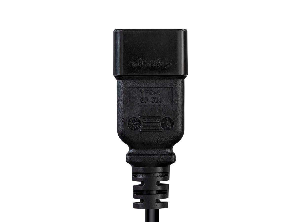 Heavy Duty Splitter Power Cord | IEC 60320 C20 to 2x IEC 60320 C13 | 14AWG | 15A | SJTW | 100-250V | Black | 0,6 m (2 ft)