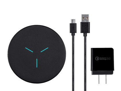 Fast Wireless Charging Pad (Bundle) Black - Qi Certified, 7.5/10 Watt Output, Includes Cable + Charging Box by Monoprice